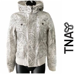 TNA Aritzia White Floral Bomber Jacket Size XS